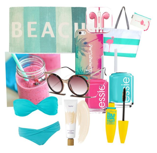 """""""Beach Day"""" by oco0004 on Polyvore featuring beauty, Hayden Reis, Volcom, Thro, Seafolly, Essie, Casetify, Maybelline, tarte and PhunkeeTree"""