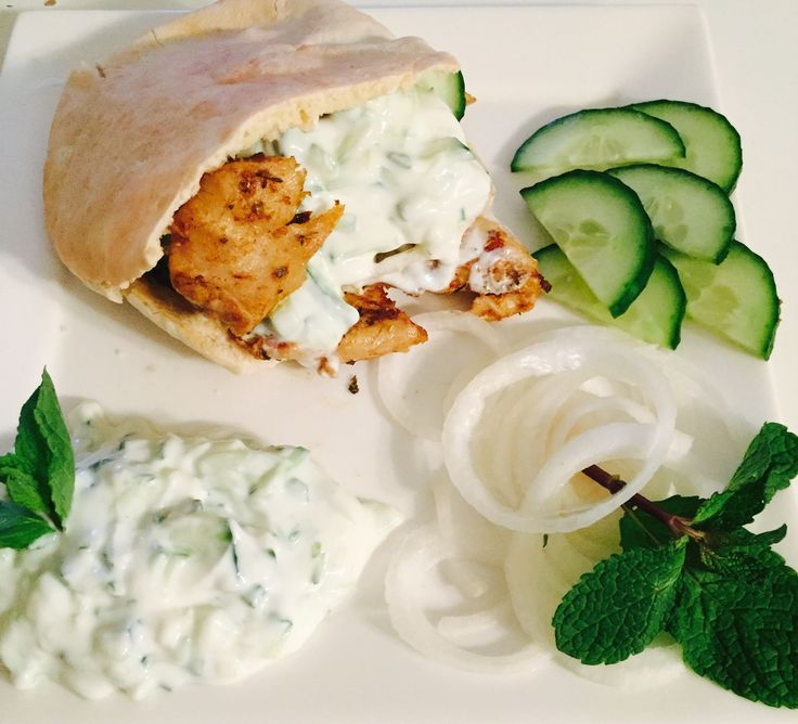 Vegetarian gyros, homemade and homemade non dat yoghurt tzatziki