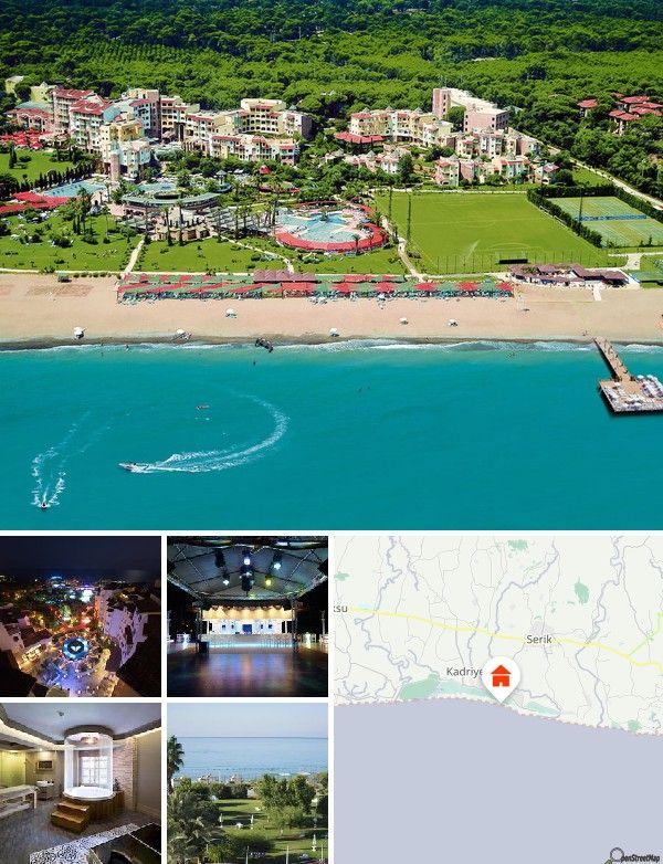 Ce club de vacance de luxe est situé dans le centre touristique de Belek, au bord de la plage (sable et galets). Le centre-ville avec ses nombreux commerces et divertissement est à environ 700 m. Un arrêt de bus se trouve à environ 50 m de l'hôtel. Antalya et son aéroport international se trouvent à environ 40 km. Le trajet jusqu'à l'aéroport dure environ 50 minutes.
