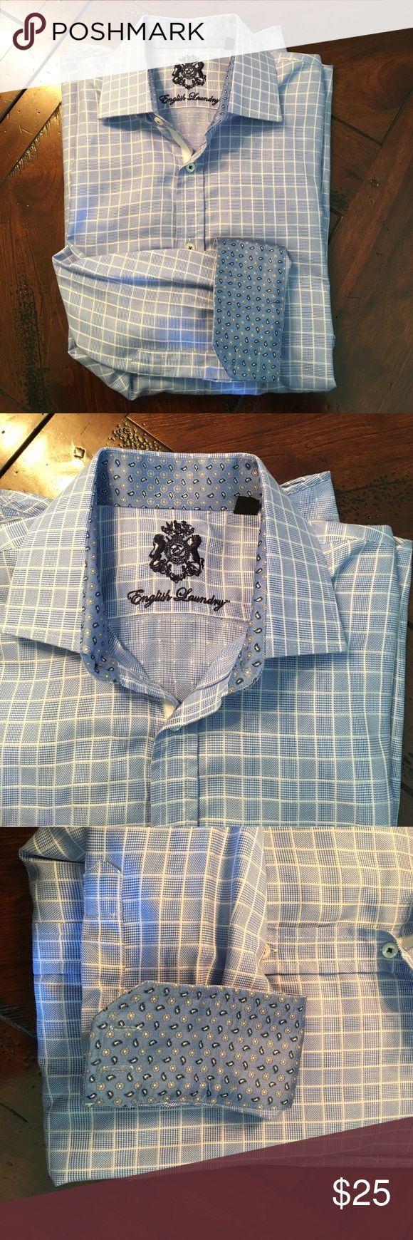 English Laundry dress shirt Window box pattern with cuff and collar accents. Brand new without tags. 16.5x32/33 English Laundry Shirts Dress Shirts