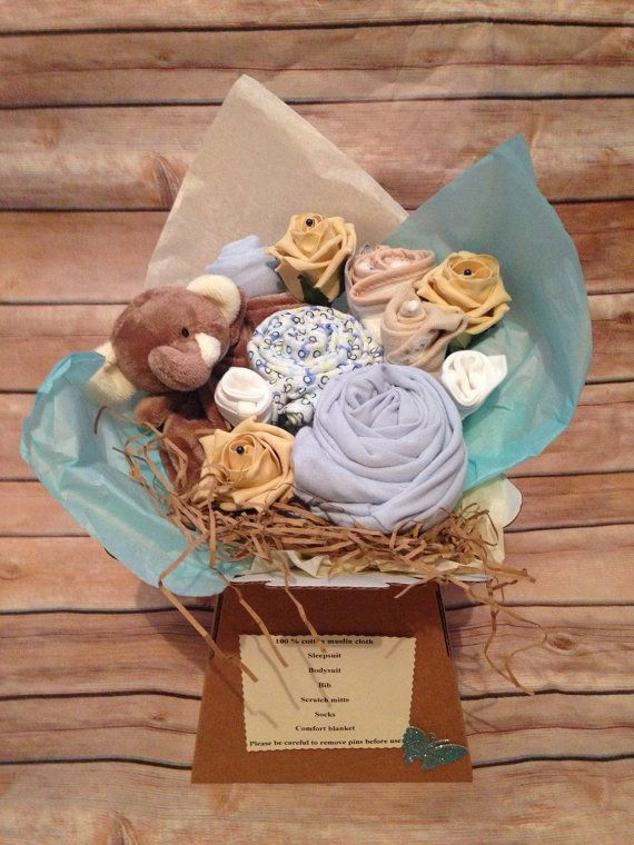Baby shower clothing bouquet by Happylilhearts on Etsy