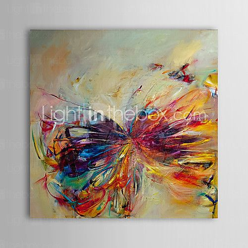 Hand Painted Oil Painting Abstract Butterfly Modern Canvas Art Ready to Hang - USD $ 49.99