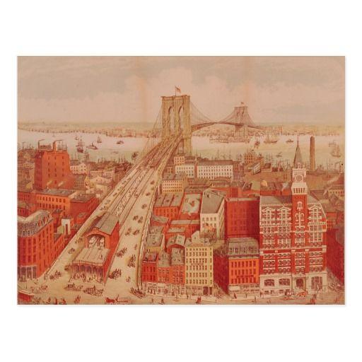 ブルックリン橋、c.1883 はがき