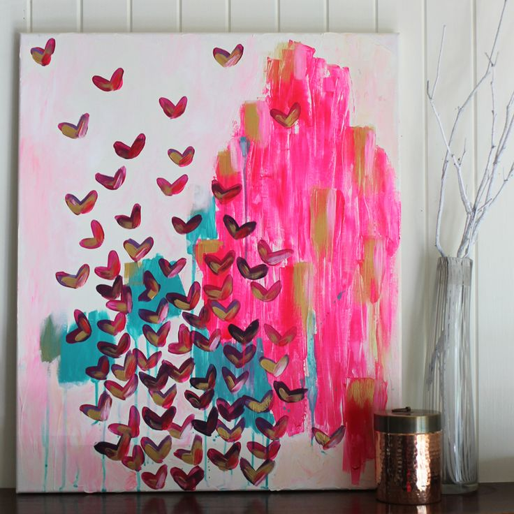 All the happy is all about good vibes only! About pushing aside your troubles and embracing the moment in a burst of happiness and gratitude. It is an original acrylic painting by Mel Boyd, painted with a soft and creamy pink background. Bold brush strokes of bright pink brings joy with aqua softening the sweetness. Finally the mass 'flight' of little shapes in deep maroon with pink and gold touches. It measures 61cm high x 51 cm wide x 1.5cm thick and comes unframed, ready to hang.