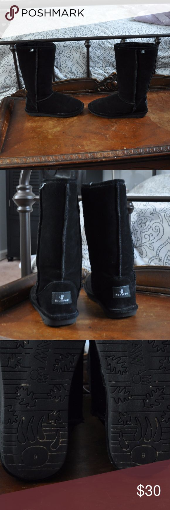 Bear Paw Black Boots Worn a few times, in good condition Warm, soft, furry and perfect for keeping your feet warm on a cold night! BearPaw Shoes Winter & Rain Boots