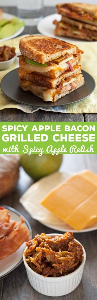 Spicy Apple Bacon Grilled Cheese Sandwiches - get ready to add some heat to your lunch with this delicious sandwich. The sweet and spicy apple relish is my favorite part!   honeyandbirch.com