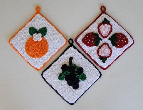 Crochet Pattern  Fruit Potholder Crochet Pattern by AllMyStyles