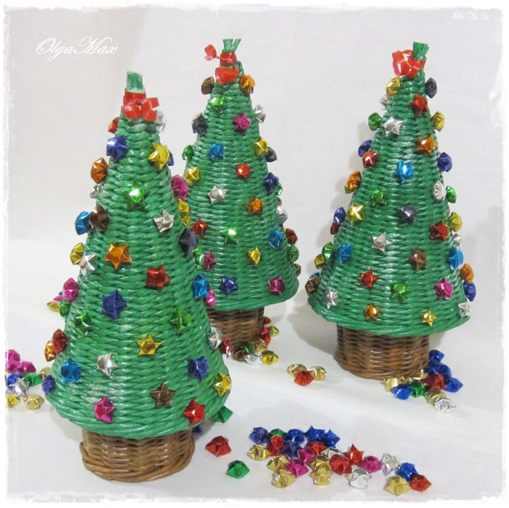 Купить Новогодняя ёлочка - серый, зеленый, звездочки счастья, звездочки, для дома и интерьера, новый год 2016