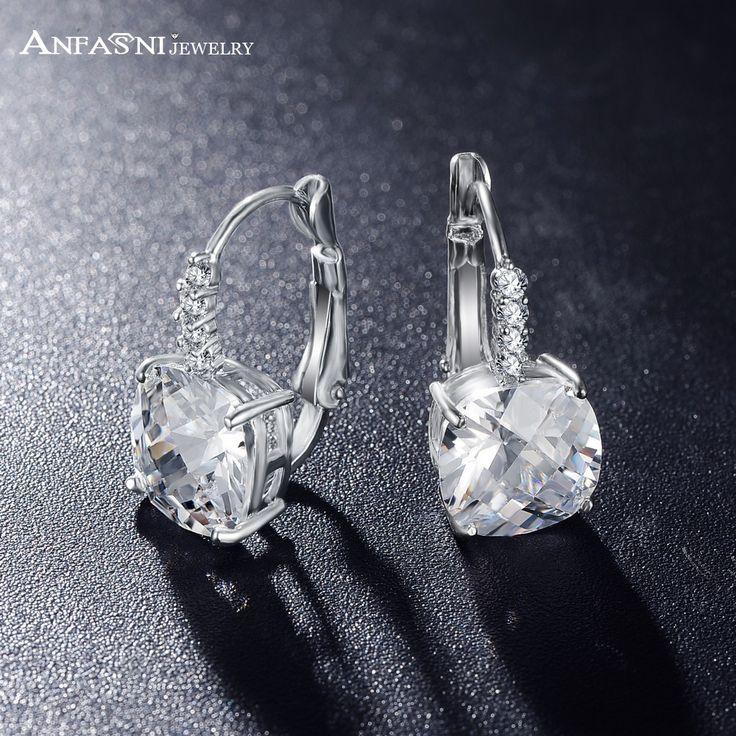 ANFASNI Hot Sell Silver Color Hoop Earrings Clear Color AAA Zircon Geometric Earrings For Women Jewelry CER0207-B