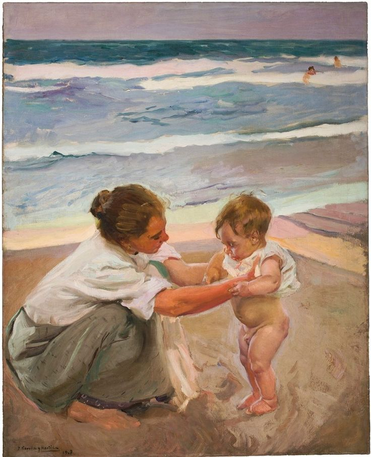 Joaquín Sorolla y Bastida, By the Seashore, Valencia, 1908.  Oil on canvas.  Museum Purchase with Funds Provided by the Legler Benbough Foundation, 2014.133.