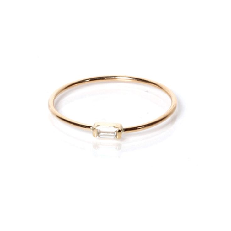 zoe chicco 14k horizontal baguette gold band ring // sparkly stacking ring // simple gold diamond ring