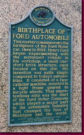 Birthplace of the Ford Automobile Historical Marker, Detroit, MI
