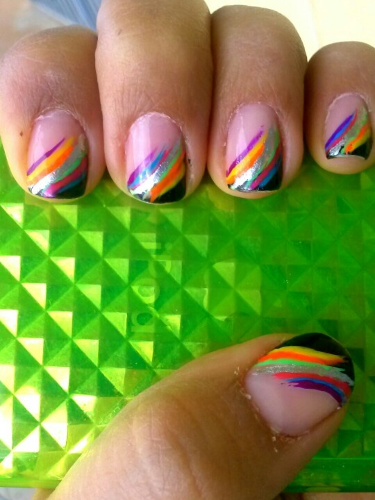 Rainbow side stripped black french nail art