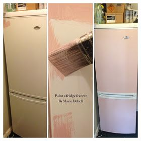 Painted Refrigerator using chalk paint