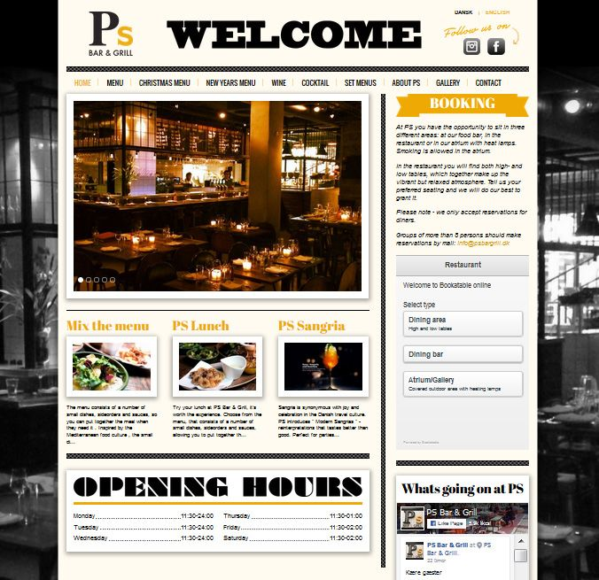 PS Bar & Grill  Restaurations website med booking-integration.