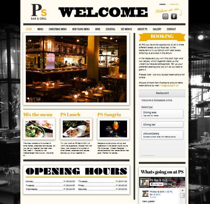 PS Bar & Grill  Restaurations website med booking-integration.