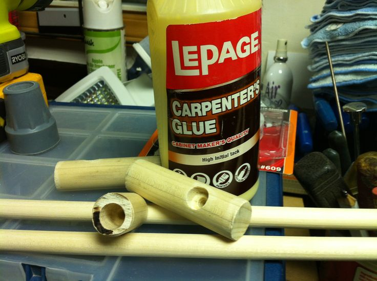 holes drilled with drill press then glued together, wooden dowels for cane
