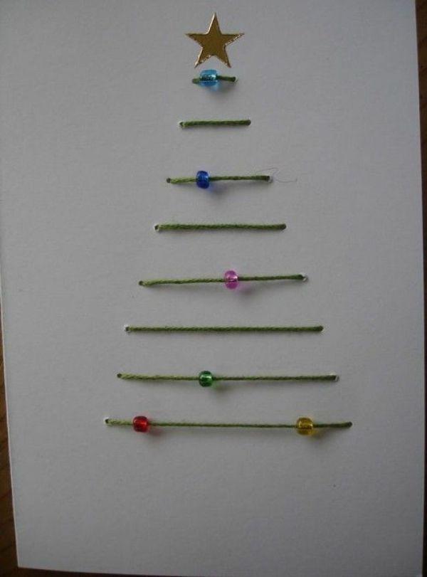 weihnachtskarten aus christmasbaum garn schmucksteine