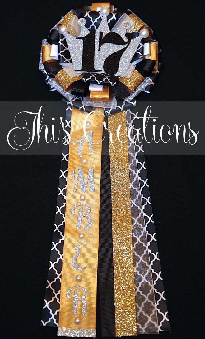 Amber's 17th birthday pin/mum/corsage in black, white, gold, silver, and lattice w/ crown... #JhisCreations