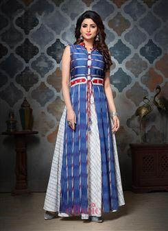 056275105ea Designer Handloom Cotton Ikkat Printed Party Wear Top With Palazzo And Long  Shrug 297