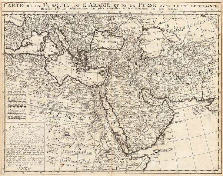 1719 Carte de la Turquie, de L'Arabie et de laPerse Avec Leurs Dependances Dresee sur les Observations les plus Nouvelles & les Memoires les plus recens.