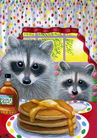 Raccoons wildlife pancakes syrup breakfast sunrise original aceo painting art #Miniature