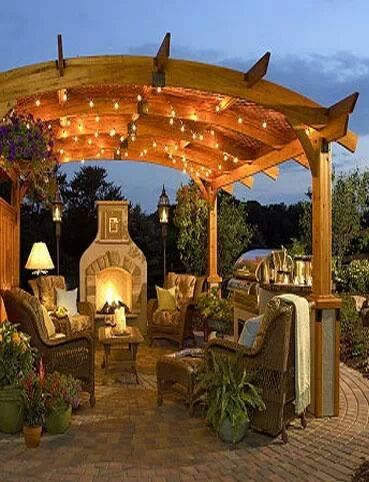 I must have this! Beautiful Outdoor Patio / living area / arbor / fireplace