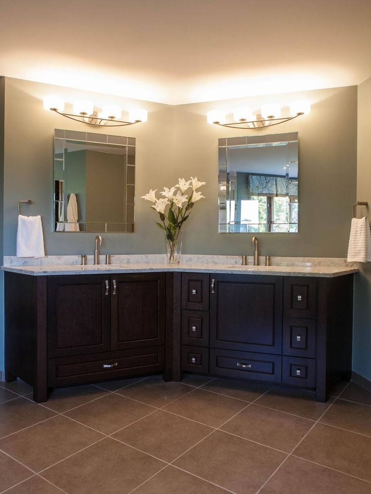 This Contemporary Master Bathroom Features A Custom Cherry Vanity And Piedrafina Countertop