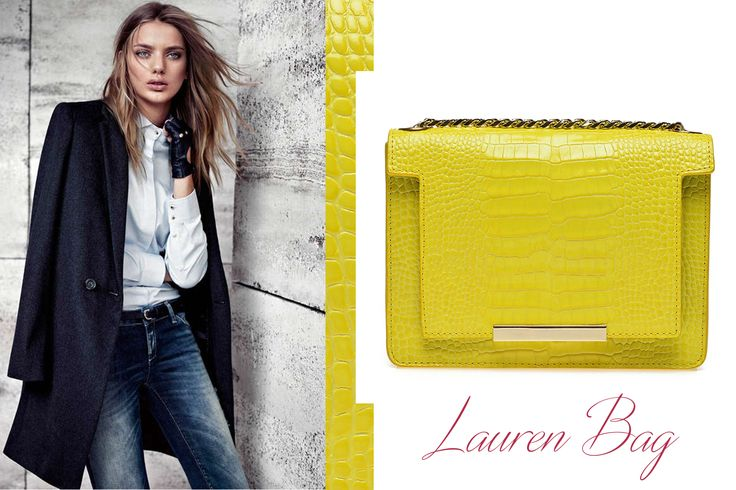 The yellow Lauren leather bag with croco effect for office and casual chic attires @wil