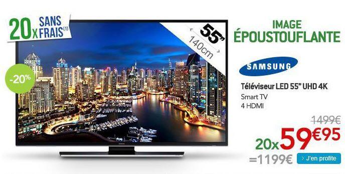 Samsung UE55HU6900S Téléviseur LED 55''UHD 4K Smart TV' prix promo TV LED pas cher Rue du Commerce 1 199 € TTC au lieu de 1 499 €