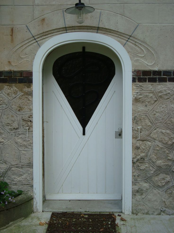 Art Nouveau door, France. White #door with diamond shape insert a real talking point