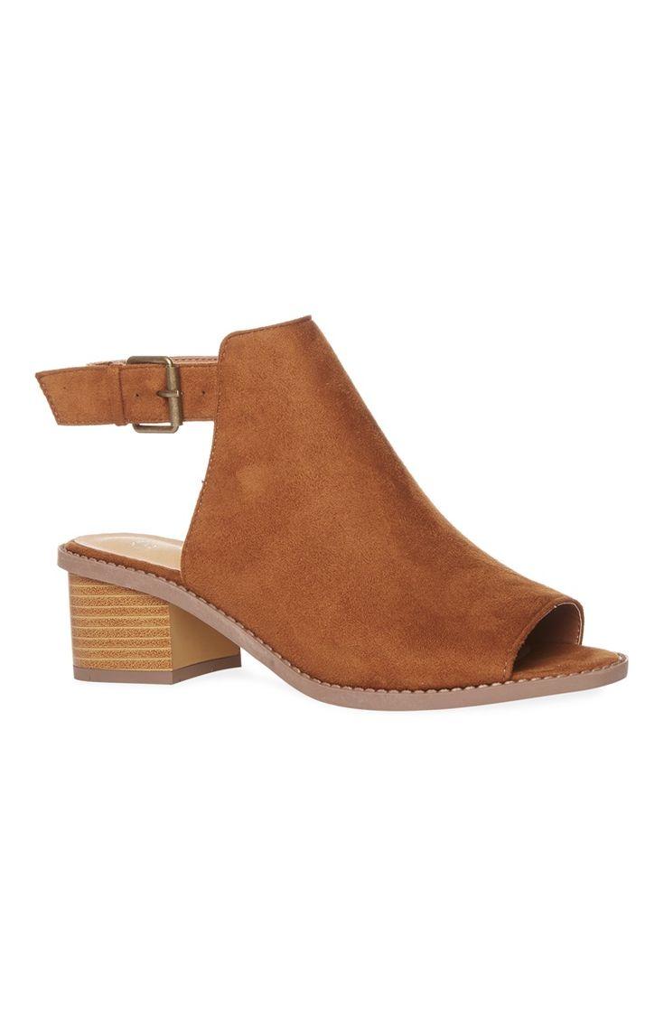 Tan Low Block Peeptoe Sandal