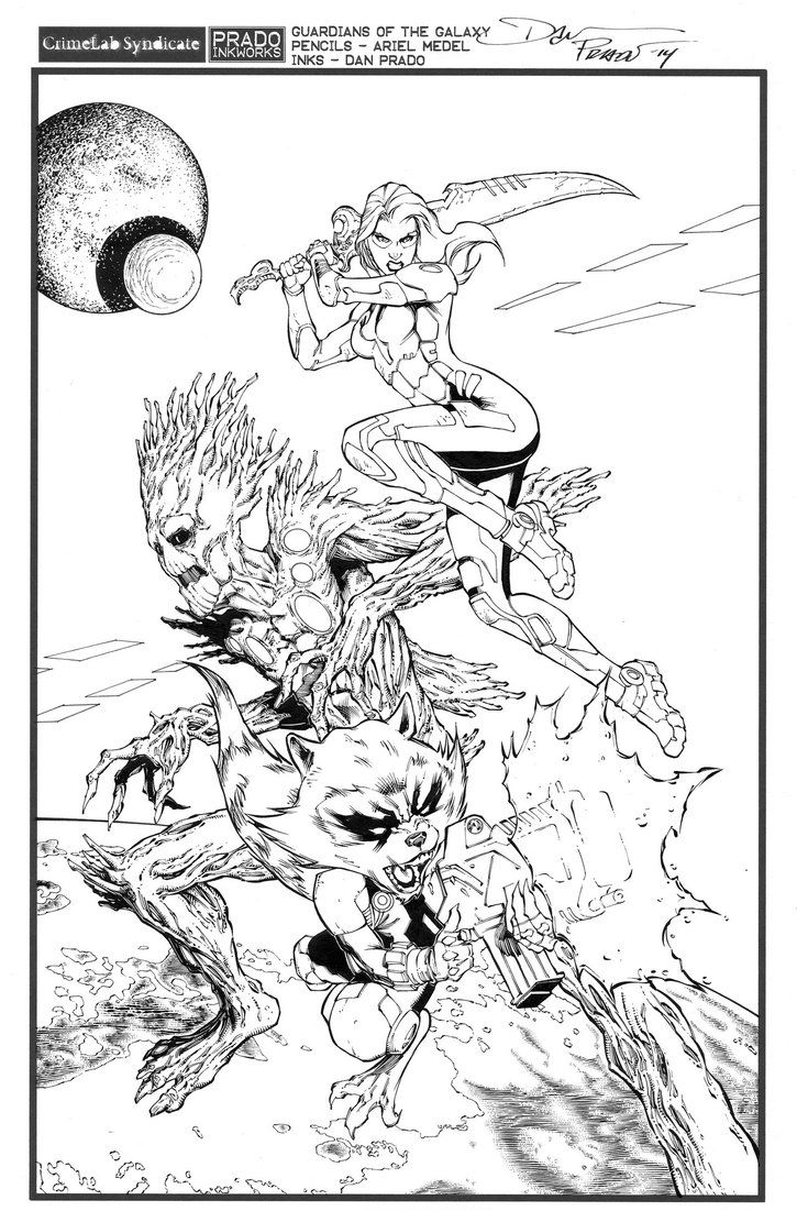 Free coloring pages guardians of the galaxy - Ariel Is Such A Fun Artist To Work Over And Has Been Sending Me Such Fun Pages Guardians Of The Galaxy By Medel And Prado