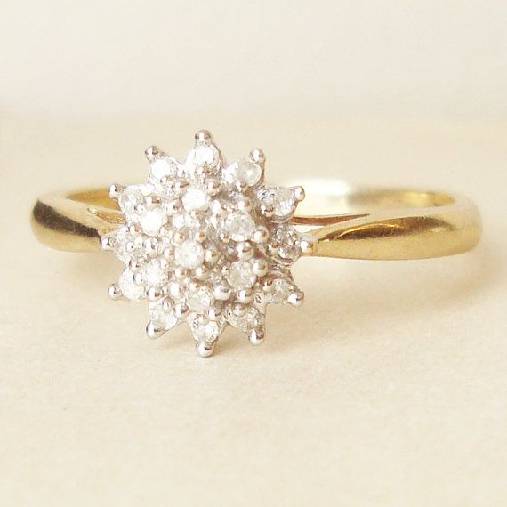 Vintage Engagement Ring, 9k Gold Diamond Flower Cluster Ring, Diamond & Gold Wedding Ring Approximate Size US 7