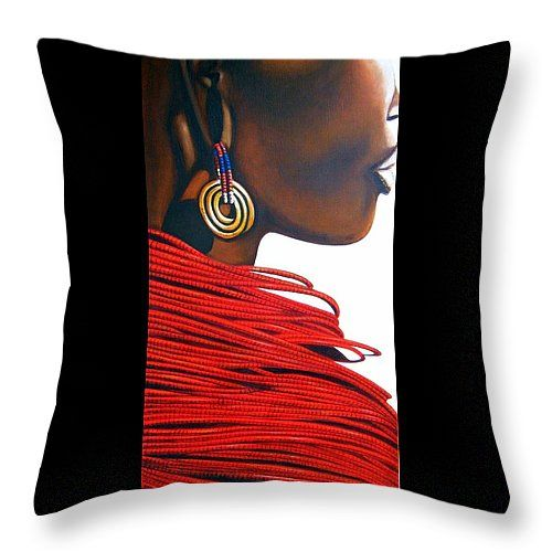 """Masai Bride Throw Pillow 14"""" x 14"""" by Tracey Armstrong"""
