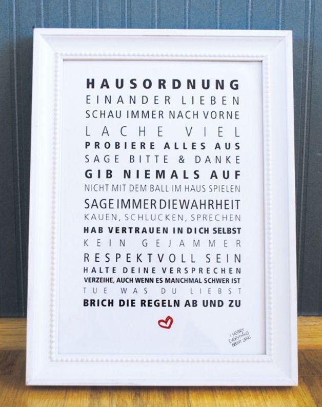 Drucke - Druck ♥Hausordnung♥ - ein Designerstück von Formart-Zeit-fuer-schoenes bei DaWanda