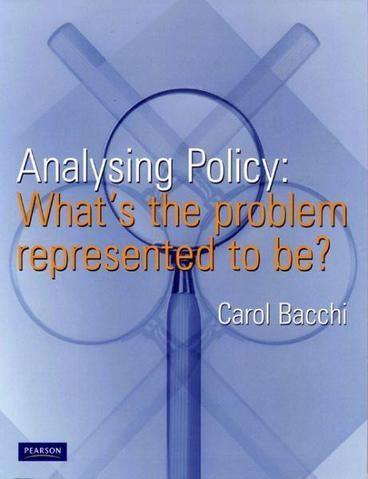 Analysing Policy by Carol Bacchi. This book offers a novel approach to thinking about public policy and a new, distinctive methodology for analysing policy. It introduces a set of six questions that probe how 'problems' are represented in policies, followed by an injunction to apply the questions to one's own policy proposals. This form of analysis, it suggests, is crucial to understanding how policy works, how we are governed, and how the practice of policy-making implicitly constitutes us.