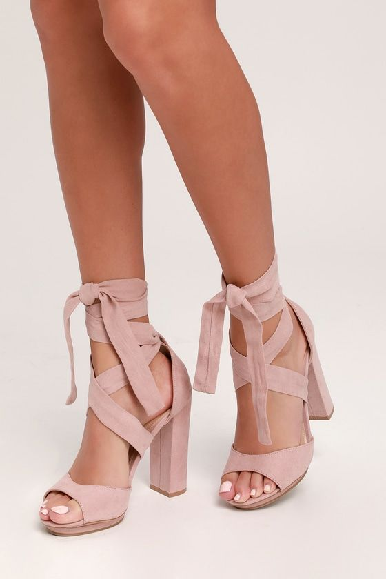 46d9227eaca The Lulus Dorian Blush Suede Lace-Up Platform Heels are giving us  70s diva  vibes! Dance the night away in these vegan suede stunners with a cute  peep-toe ...