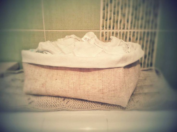 sewed linen basket for baby clothes