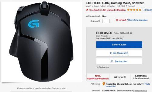 LOGITECH G402 Gaming Maus - jetzt 22% billiger