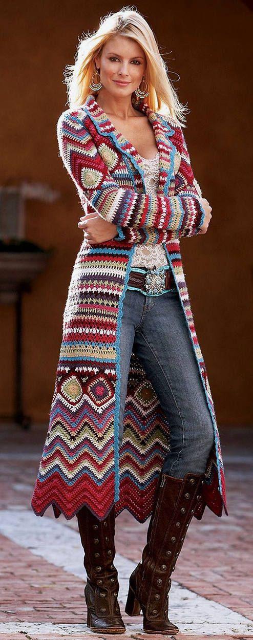 Ethnic Print Knit Long Cardigan