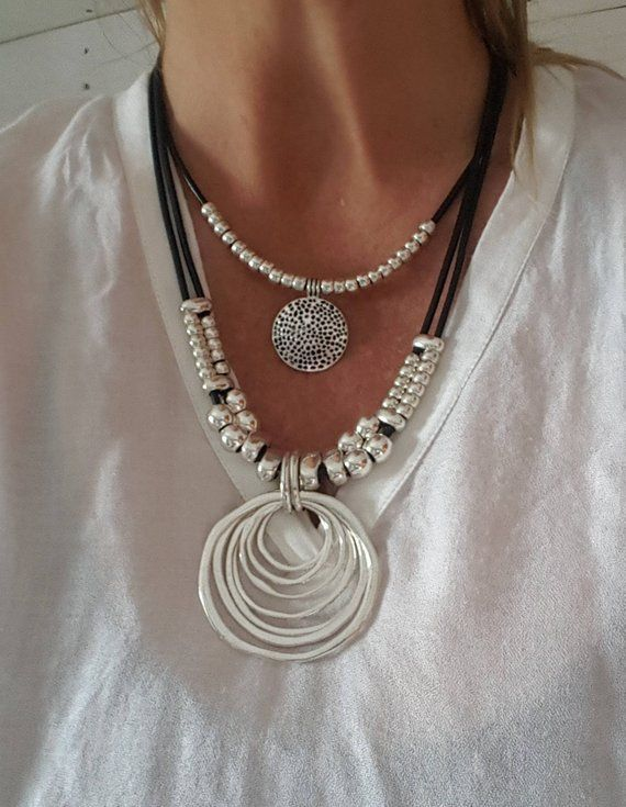 double, beaded, woman leather necklace, coin necklace, endless Ring, spiral pendant, circle, Eternity, handmade gift idea, myDemimore