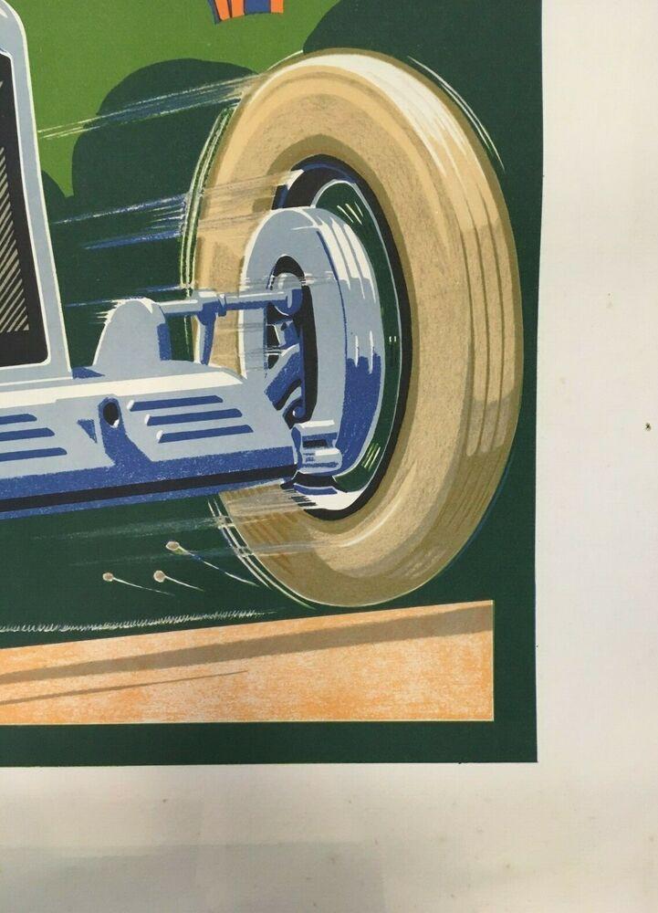 Vintage Art Deco French Grand Prix Poster Antibes Juan Les Pins 20s Motor Racing