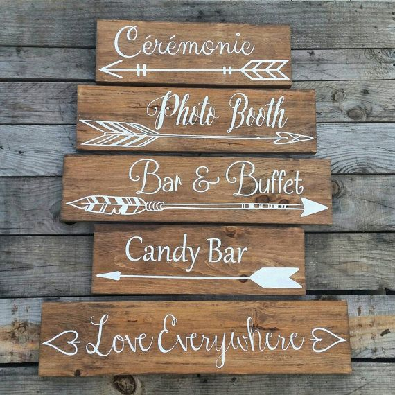 This listing is for one sign. Displayed in the photos is 5 signs. For example, if you would like the 6 signs, please add 6 signs to your cart. Each sign is $29.99 If you wish to order the number of signs in the photo, you can buy 5 signs directly at this listing. https://www.etsy.com/listing/275552146/five-wedding-arrow-directional-signs   You will receive one carefully painted wedding sign with tribal arrows pointed either left or right, with the words of your choosing. Different fonts and…