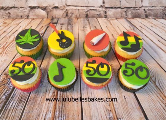 Bob Marley themed cupcakes