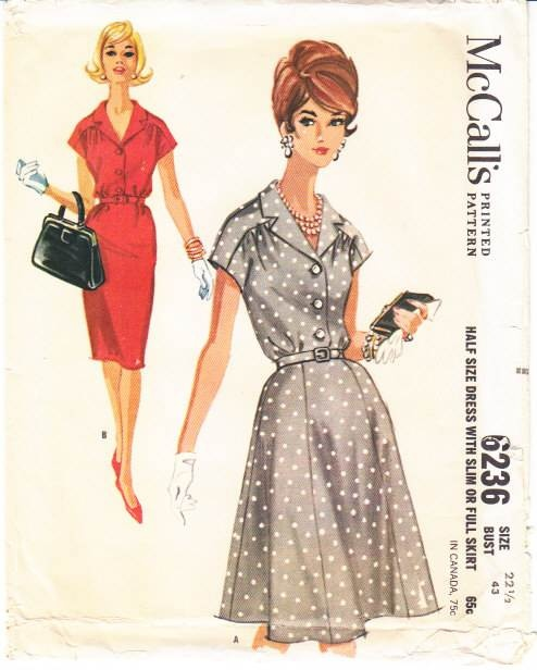 McCalls 6236 Slim or Full Skirt Dress Sewing Pattern Plus Size 22.5 B43