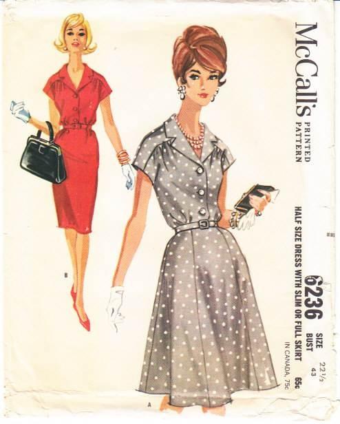 McCalls 6236 Slim or Full Skirt Dress Sewing Pattern Plus Size 22.5 B43