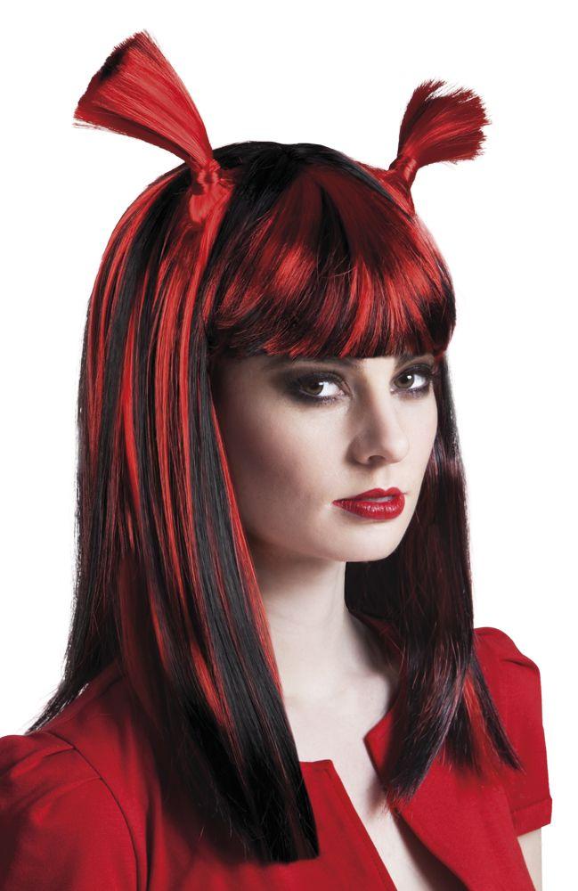 Puna-musta pitkä peruukki saparoilla.