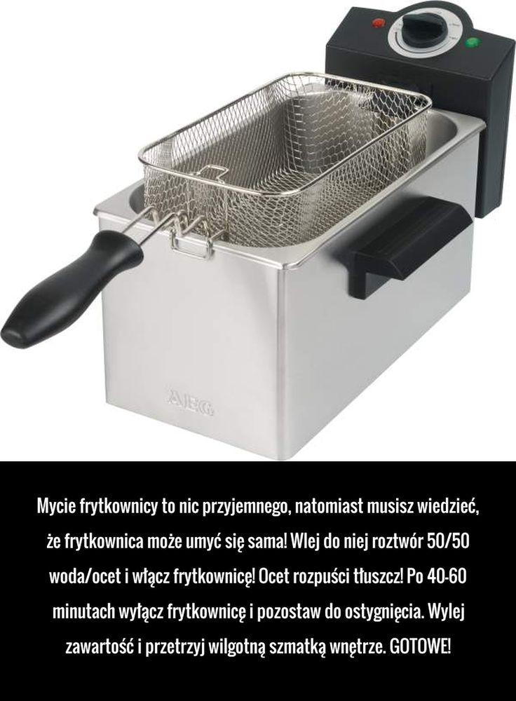 Mycie frytkownicy to nic przyjemnego, natomiast musisz wiedzieć, że frytkownica może umyć się sama! Wlej do niej roztwór 50/50 woda/ocet ...