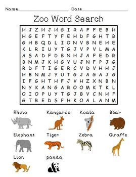free zoo word search first grade word work pinterest zoo animals search and word search. Black Bedroom Furniture Sets. Home Design Ideas